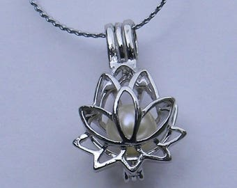 Lotus Cage Pendant & Pearl Necklace Kit, gift for her, bridesmaid gift, June birthstone.