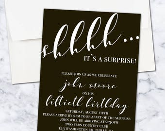 Shh It's a Surprise Birthday Party Invitation, 5x7, Digital Download, Gender Neutral
