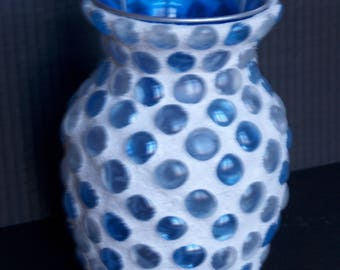 Blue Dot Mosaic Vase/Mood light
