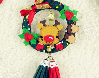 PDF Patterns & Instructions Christmas Rudolph Wreath Car Pendant / Ornament / Hanging