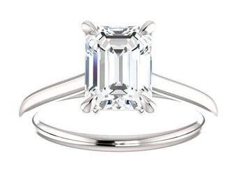 Forever One Moissanite Engagement Ring- Rebecca | emerald | solitaire moissanite engagement ring