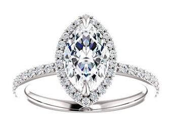Forever One Moissanite Engagement Ring- Flora | pear | minimalist moissanite halo engagement ring