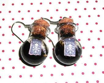 Pair of earrings vials Poison (bottles earrings)