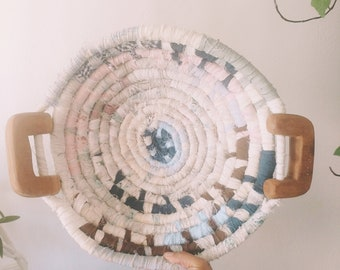 Large vintage fabric woven bowl