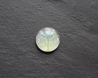 "Cabochon 18 mm ""tree of life"" glass"