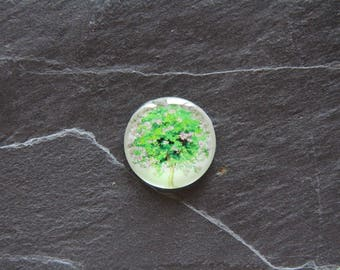 """Flowered tree"" 25 mm glass cabochon"