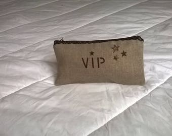 STAR LINED LINEN BAG POUCH