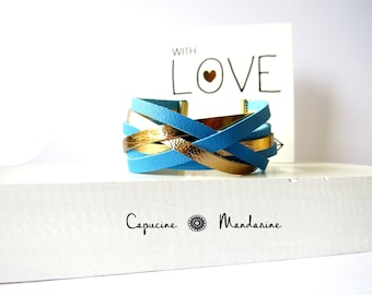 Leather strap bracelet - Golden blue
