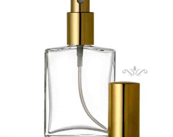 Case of 144 Bottles:  1 oz. or 2 oz. Flat  Sprayer Atomizer Refillable Perfume cologne GLASS SPRAY BOTTLE Empty Bulk Wholesale 1 gross