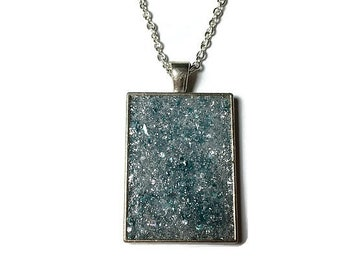 aqua ice druzy, druzy pendant, druzy necklace, geode jewelry, crystal pendant, boho, blue druzy, rectangle pendant, under 20 dollars