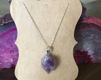 Sterling Silver Amethyst Necklace 18""