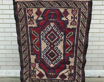 Boho wall hanging - Semi-antique handwoven central Asian wall hanging with custom wood wall hanger