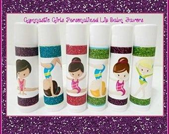 GYMNASTICS Girls Lip Balm - Gymnastics Team Gifts - Gymnastics Party Favors - Free Personalization - Set of 20