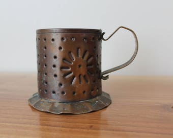 Copper candle holder with handle / punched tin / perforated lantern / photophore