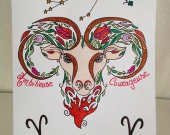 Astrology Aries - Mandala - birthday card