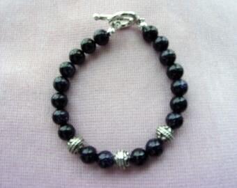 Blue Sandstone and Pewter bracelet