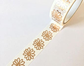 washi tape with copper flower pattern // Decoration gift wrapping Masking Bullet Journal shiny letters bulletjournal bujo bronze golden