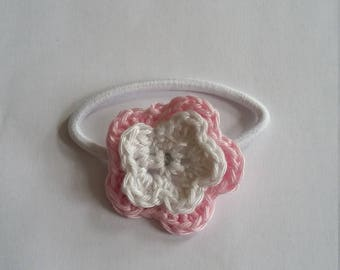 Hair elastic with crochet double flower (white/pink)