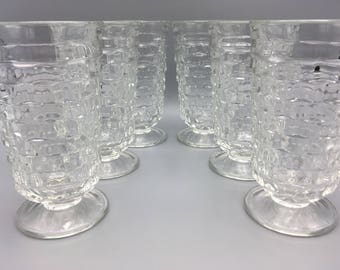 6 Vintage Indiana Glass Whitehall Colony Footed 12 oz Tumblers Clear