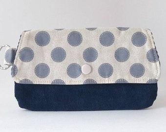 Polka-dot fabric bag, eyewear bag, fabric and velvet bag, multi-purpose purse, key ring case
