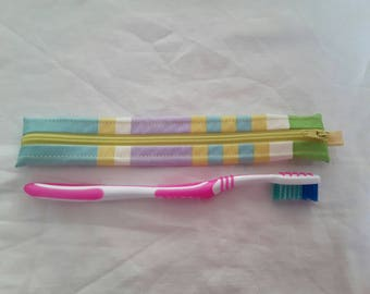 Pouch / Holster toothbrush yellow green coated purple striped fabric