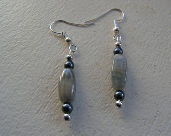 Grey 2 tone beaded earrings