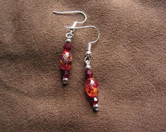 Earrings red and gold beads