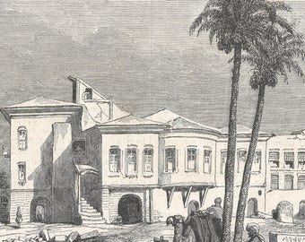 Ministry of Public Education, Cairo, Egypt 1846 - Old Antique Vintage Engraving Art Print - Building, Trees, Men, Camel, Stairs, Arch