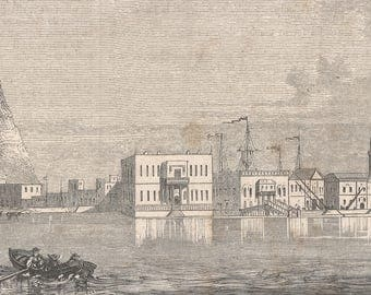 View Of Suez, Egypt 1860 - Old Antique Vintage Engraving Art Print - Building, Windows, Canal, Water, Tower, Spire, Minaret, Ship, Steamboat