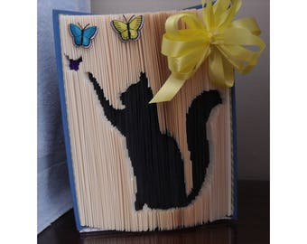 Black Cat Chasing Butterflies and Embellished with a lovely Yellow Bow