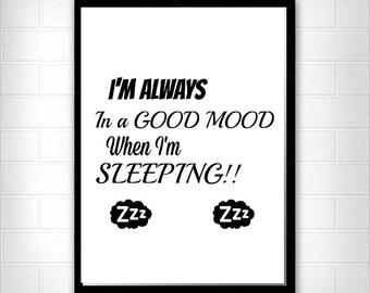 Good Mood When Sleeping, Word Art, Printable, Minimalist Art, Instant Download