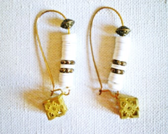 EARRINGS contemporary designer white and bronze