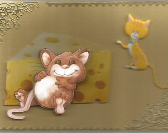 Animals, 3d card, handmade, domestic animals category - birthday, anniversary, get well, retirement, animals, cat, mouse