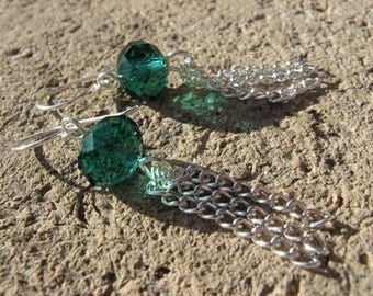 "Fancy ""Tassel"" Silver Crystal turquoise plated earrings"