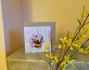 BEE greetings card, Blank, Gift, insect, nature lover, wildlife, Thankyou, recycled card, Birthday, compostable packaging, Mothers Day