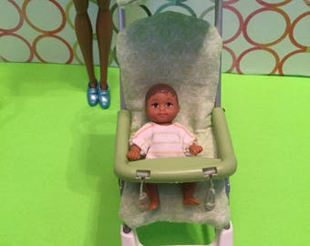 OOAK Stroller for 1/6, 11.5 inch Fashion Doll, Barbie size baby
