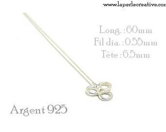 Nail - Silver 925 60 rings 3 mm shank
