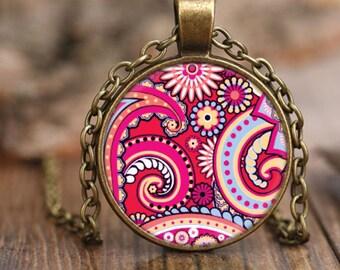 Vintage Style Pink Paisley Pendant Necklace, Bohemian Style