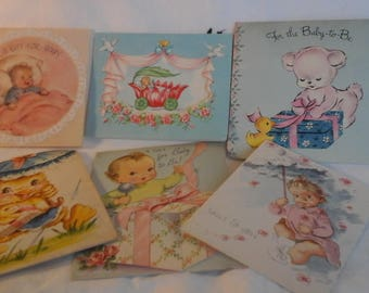 Vintage  Baby Shower cards
