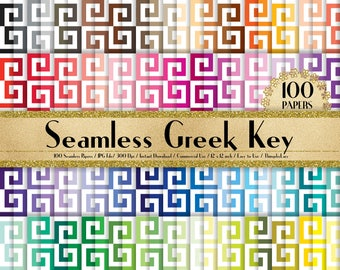 "100 Seamless Greek Key Pattern Papers in 12"", 100 Greek Papers, Planner Paper, Commercial Use, Rainbow Paper, 100 Digital Paper"