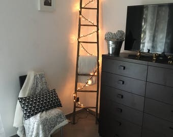 Rustic ladder with lights