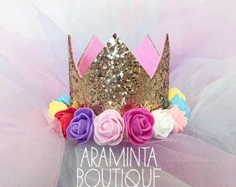 Birthday Crowns, Tiaras, Flower Crown, 1st  2nd 3rd 4th 5th Birthday, 16th 18th 21st 30th 40th Birthday,Cake Smash,Photo Prop, Party,Sparkle