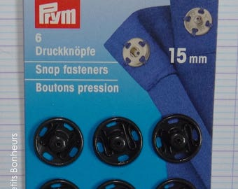 6 snap buttons sewing buttons 15 mm black - PRYM 341 169