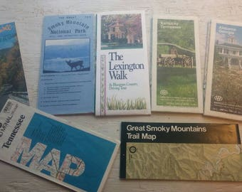 Vintage Road Maps Etsy - Road map of southern usa
