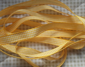 10mm yellow GINGHAM Ribbon (1 cm)-discount sale price