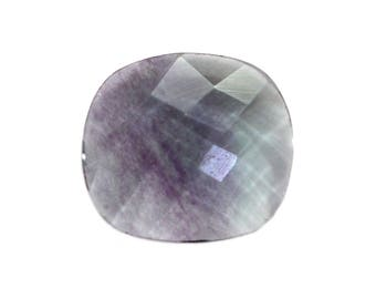 Fluorite Natural Striped Fluorite Both Side Faceted Checker cut Gemstone 7.70 cts 14x16 mm For Designer Jewelry 3976