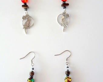 Earrings wooden beads and glass bead - gift idea