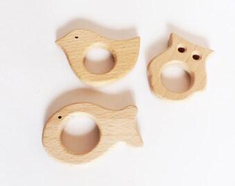 3 anneaux de dentition ANIMAUX en Bois Naturel Brut - oiseau / poisson / hibou - bois de hêtre - bois non traité - création hochet bébé