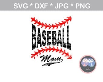 Baseball Mom, laces, ball, svg, dxf, png, jpg digital cut file for cutting machines, personal, commercial, Silhouette Cameo, Cricut