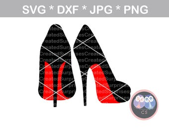 Angled High heels pumps stilettos red svg dxf png jpg digital cut file for cutting machines, personal, commercial, Silhouette Cameo, Cricut